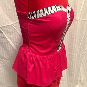 Rampage Strapless Hot Pink Ruched Peplum Top Large